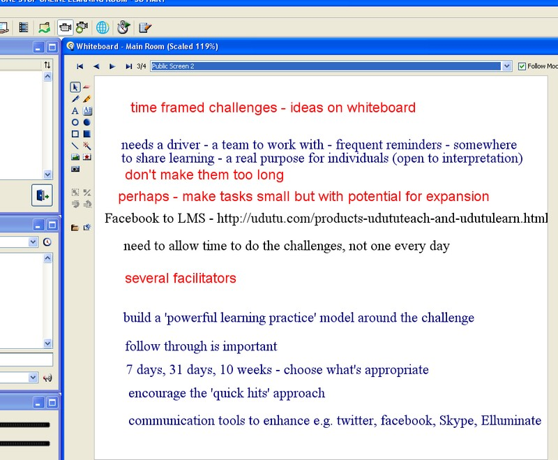 Ideas on time framed challenges - whiteboard from Free Online PD 16/01/09