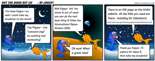 A cartoon image suggesting the ISS as a teaching resource